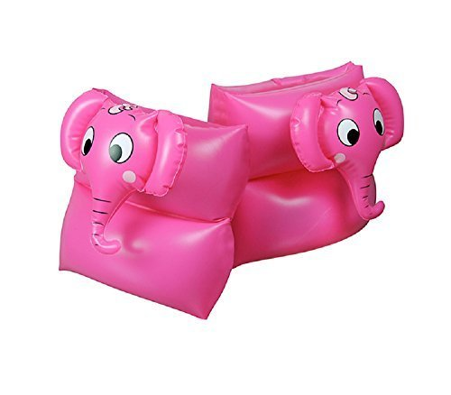 Pink Animal Head Elephant Swimming Pool Inflatable Learn-To-Swim Arm Floaties - Children Ages 3-12 by Swim Central
