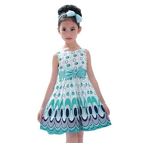 Sleeveless Bubble (Girls Princess Dress, Malltop Bow Belt Sleeveless Bubble Peacock Party)