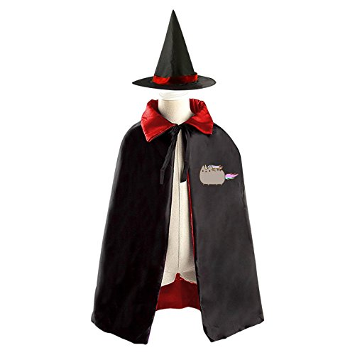 Rainbow Pusheen Cat Halloween Cape and Matching Witch Hat for Kids Red