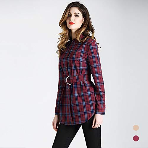 D'autunno Risvolti Cotone A Vestiti Quadri In Donna Lunghe Sottili Maniche Con Rosso Da Nouler Sw5X0qPX