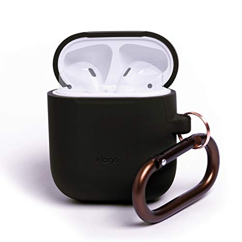 elago AirPods Hang Case [Black] - [Compatible with Apple AirPods 1 & 2; Front LED Not Visible][Supports Wireless Charging][Extra Protection] [Added Carabiner] - for AirPods 1 & ()