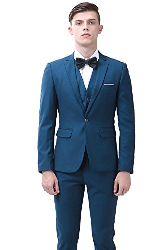 One Button 3-piece Dress Suit Single-breasted Notch-lapel Slim Fit Blazer Jacket For Wedding/Party/Working