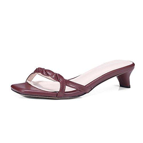 GJDE Verano Zapatos Casuales Sandalias y Zapatillas con Cabeza Cuadrada arco Grueso con Wine Red