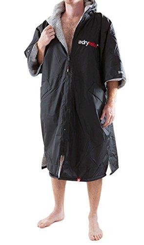 Dryrobe Advance Short Sleeve Towelling Changing Robe (Black/Grey, L)