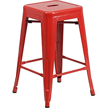 Amazon Com Flash Furniture 24 High Backless Red Metal