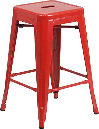 Flash Furniture 24'' High Backless Red Metal Indoor-Outdoor Counter Height Stool with Square Seat (Chairs Kitchen Sale Red)