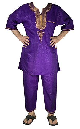 DecoraApparel African Traditional Men Suit Ethnic Clothing Brocade Pant Set (One Size, Purple Gold) by Decoraapparel