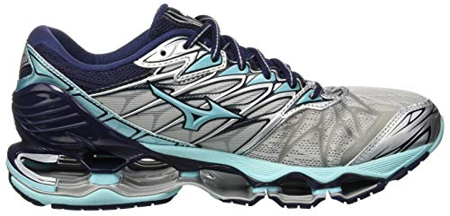 7 Mizuno Aquasp Mujer Silv Zapatillas Wave Multicolor Peacoat para Prophecy 001 rrq8a6wxE
