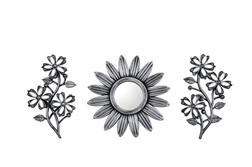 Price comparison product image All American Collection New 3 Piece Decorative Mirror Set, Wall Accent Display (Silver Sun and Flowers)