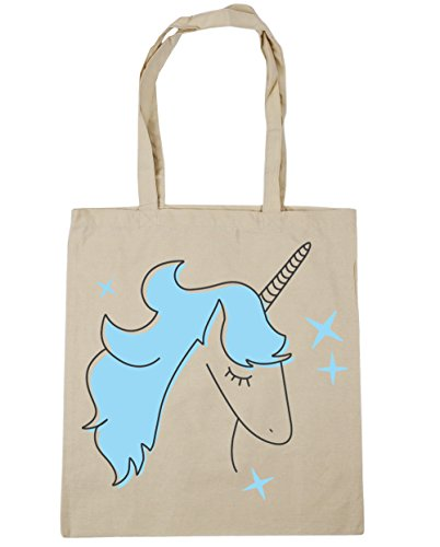 10 Tote Gym Natural x38cm litres Star Unicorn Blue Bag Shopping Beach 42cm HippoWarehouse vfqtXwx7