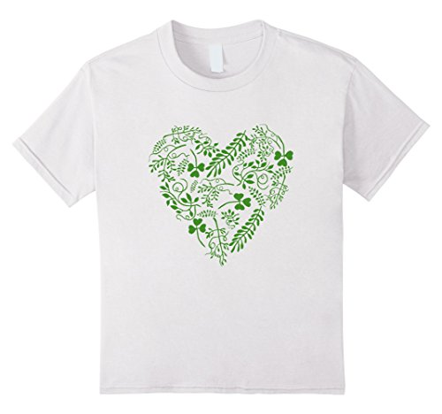 [Kids Cute Heart Shamrock Clover St. Patrick's Day T-Shirt 6 White] (Cute St Patricks Day)