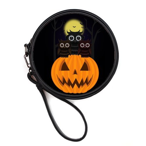 Amazon.com : Generic Personalized Cartoon Moon Night Owl and Hallowmas Halloween Pumpkin Lantern for Round Makeup Bag : Beauty