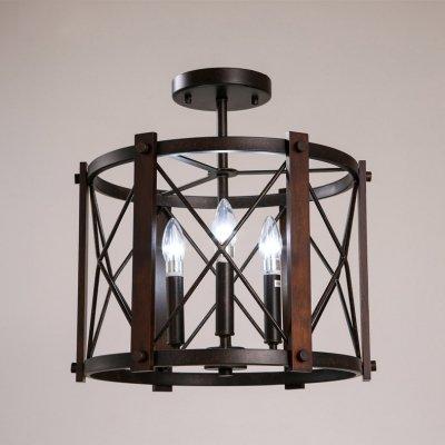 hua Olde Iron 17 Inches Wide 3 Light Semi Flush/Foyer Light with Wood (Olde Black Three Light Foyer)