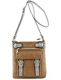Two Tone Belted Crossbody Bag