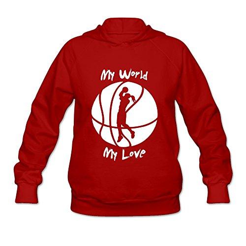 New Lifestyle Women's Girls Basketball My Love Long Sleeve Hood Shirt Red XL