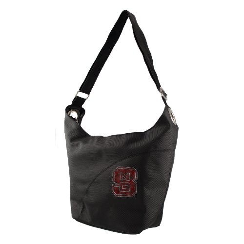 NCAA North Carolina State Wolfpack Sport Noir Sheen Hobo Bag, Black