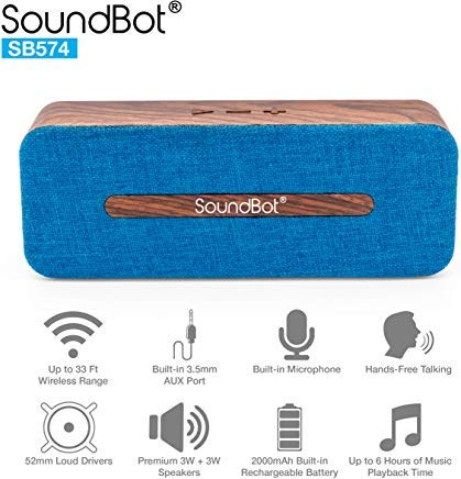 SoundBot SB574 6W Bluetooth 4.2 Wireless Speaker for 6hrs Music Streaming and Hands-Free Calling w Premium Driver Passive Radiator Subwoofer, Built-in Mic Battery, 3.5mm Audio Port for Indoor Outdoor