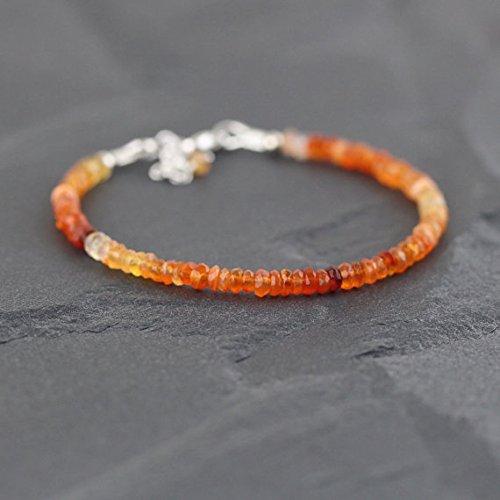 JP_Beads Mexican Fire Opal Bracelet in Sterling Silver, Rose or Gold FilledFilled Filled. Dainty Beaded Stacking Bracelet. Delicate Red Orange Gemstone Bracelet 3mm