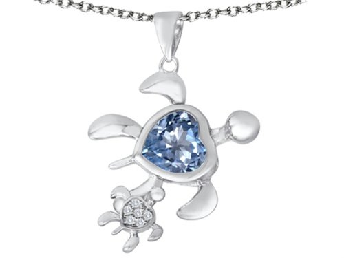 Star K Sterling Silver Good Luck Mother and Child Turtle Pendant Necklace