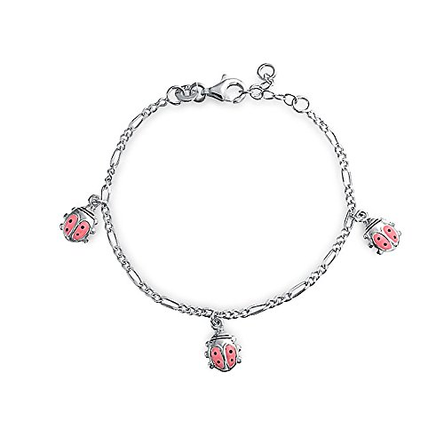 (Lucky Pink Ladybug Dangling Charm Bracelet For Women 925 Sterling Silver 6 Inch )