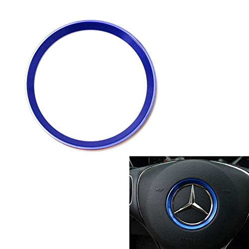 iJDMTOY (1) Sports Blue Aluminum Steering Wheel Center Decoration Cover Trim For 2015-up Mercedes C E CLA GLA GLC GLE Class
