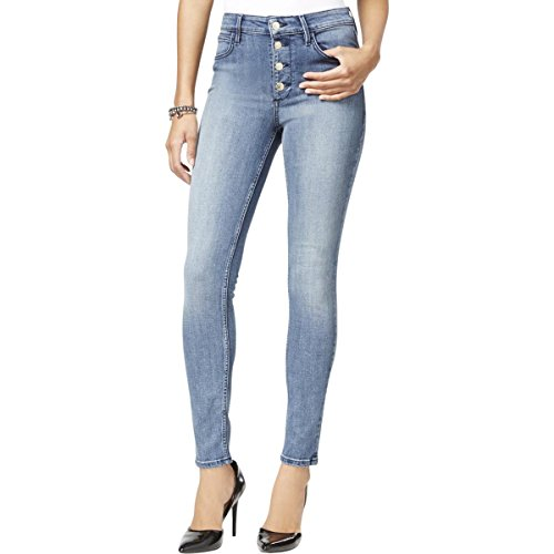 Guess Women's 1981 Button Front Skinny Jean in Indigo Denim, Juanga Wash, (Guess Indigo Jeans)