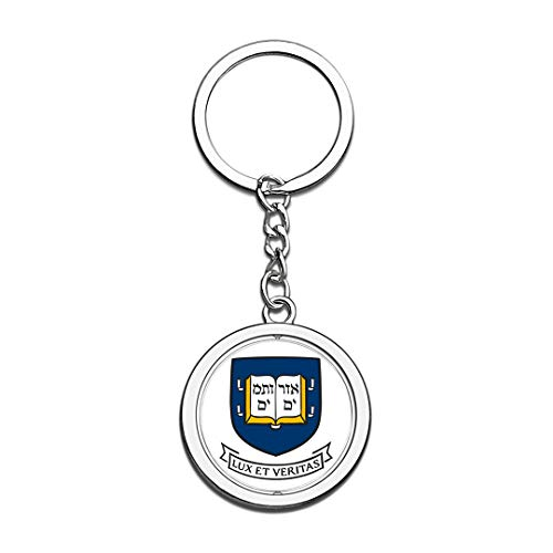 Yale University Badge Keychain 3D Crystal Creative Spinning Round Stainless Steel Keychain Travel City Souvenir Key Chain Ring