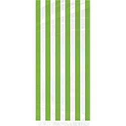 Lime Green Striped Cellophane Bags, 20ct
