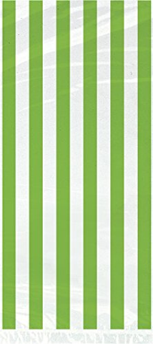 Lime Green Striped Cellophane Bags