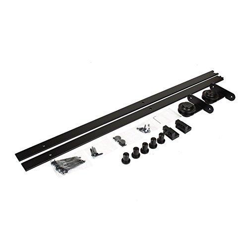 tondo 200 Porta scorrevole Door Hardware Kit Nero per porta singola hardware Track Kit,classico,in acciaio nero