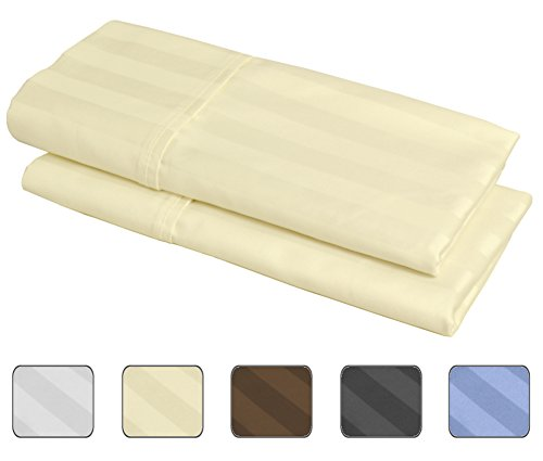 100% Egyptian Cotton, 540 Thread Count 2 Pack Striped King Size Pillowcases - 4 Colors With Wrinkle Guard To Choose From - fits 20x36 (Color: Ivory)