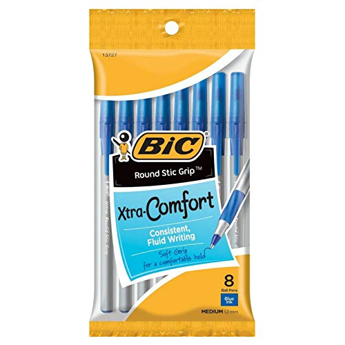 Bic Xtra-Comfort Ultra Round Stic Grip Ball Pen, Medium Point, Blue 8 ea