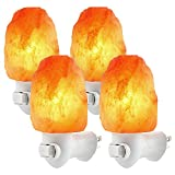 4 Pack Himalayan Salt Lamp Night Light, Hand Craved Natural Salt Rock, ETL Certified Wall Plug with E12 Base, Amber White Light for Ambiance Lighting, Decoration, Yoga, Air Purifying