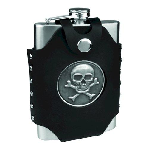 8oz Hip Flask with Skull & Cross Bones -