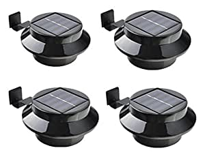KingYuan LED Solar Lamp Sensor Waterproof Solar Light 3 LEDs Street Light Outdoor Path Wall Lamp Security Spot Lighting, Black, 4 Piece