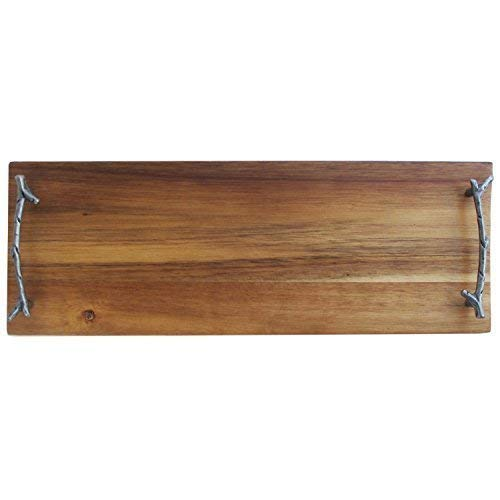 - American Atelier Rectangular Wooden Party Serving Platter with Metal Twig Designed Handles, 16.5 x 5.9 x 1.95