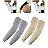 2 Pairs of Arm Sleeves Scorpion Cool Arm Sleeves UV Protection for Youth Kids Arm Warmers for Cycling Golf Baseball Basketball, Gray, Beige
