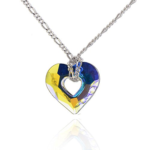 GemsChest Sterling Silver Heart Shaped Swarovski Crystal Solitaire Pendant Necklace 17