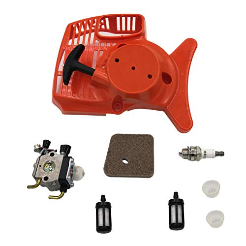 (Shioshen Recoil Starter Carburetor Carb Air Fuel Filter Kit for STIHL FS55 FS46 FS45 FS38 FC55 HL45 KM55 FS 55 Trimmer Edger Weedeater)