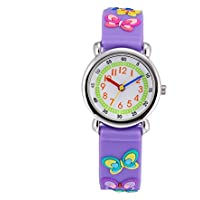 Children Kids Toddler Watches Age 4 - 7 Time Teacher Watches, Cartoon Character 3D dinosaur Silicone Band Watches (Purple - Butterfly)