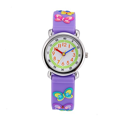 Children Kids Toddler Watches Age 4-7 Time Teacher Watches, Cartoon Character 3D Dinosaur Silicone Band Watches (Purple - Butterfly) ()