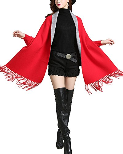 Mujer Ponchos y Capas Chaqueta de Punto Manga Largas Borla Cárdigan Jerséis Rojo