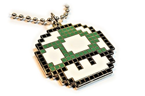 Super Mario World GREEN MUSHROOM 1UP Pixel SNES Charm Pendant Necklace with Ball Chain