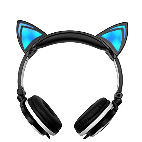 Smalody Foldable Headset Cute Cat Ear Headphones Led Flashing Glowing Earphone for PC Laptop Computer phone (Black)
