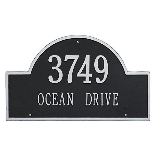 Arch Marker Estate Address Plaques - Whitehall Products Arch Black/Silver Marker Estate Wall Two Line Address Plaque