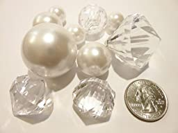 95 Jumbo White Pearls with Sparkling Diamonds & Gems Accents Vase Fillers-Value Pack - NOT INCLUDING the Transparent Water Gels for Floating the Pearls (Sold Separately)