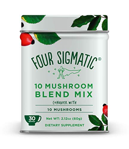 Four Sigmatic 10 Mushroom Blend - Lions Mane, Reishi, Chaga, Cordyceps, Enoki, Maitake, Shiitake, Tremella, Meshima, Agaricus Blazei - Dual-Extract Superfood Mushroom Powder - 60g - 30 servings