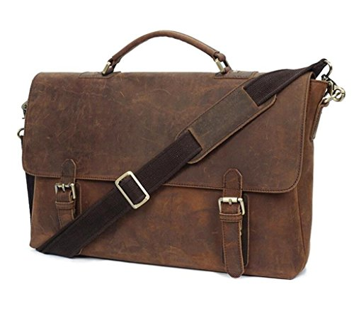 bag Man scuro Leather Bao Lavoro Handbag Retro Marrone Shopping wallet Viaggi Messenger Zw1ZtqTPE