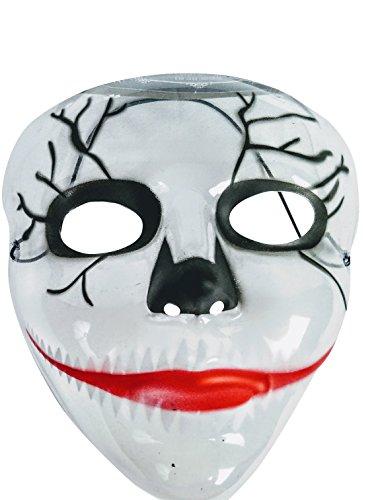 Joker style PVC Clear Transparent Costume Mask - Halloween - The Purge