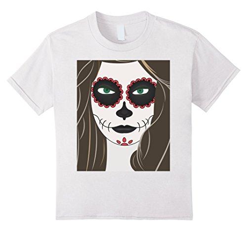 Kids Halloween Girl MakeUp Terror T-Shirt In KIDS & ADULTS Size 8 White